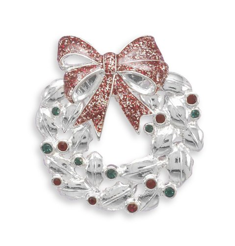 Wreath Fashion Pin with Red and Green Swarovski Crystals