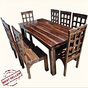 9pc Solid Wood Dining Room Table Chairs Set Furniture W Extension