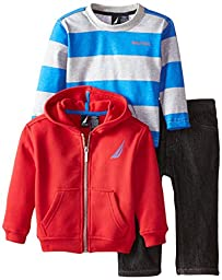 Nautica Baby Boys\' 3 Piece Set Fleece Long Sleeve Tee Denim Pant, Red Rouge, 18 Months