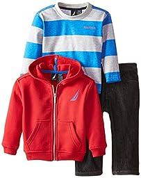 Nautica Baby Boys\' 3 Piece Set Fleece Long Sleeve Tee Denim Pant, Red Rouge, 12 Months