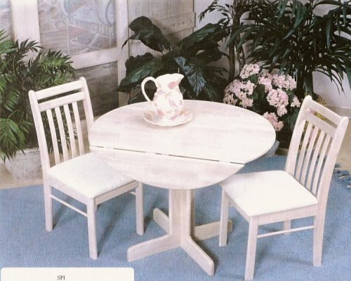 Buy Low Price Swindal International 40″ Whitewash Drop Leaf Table with 2 Chairs (157/212-WW, 213-WW)