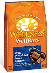 Wellness WellBars Crunchy Wheat Free Natural Dog Treats, Whitefish & Sweet Potato, 50-Ounce Box