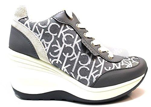 Calvin Klein Jeans RE9385 Grigio Sneakers Scarpe Donna Casual Sportive Zeppa