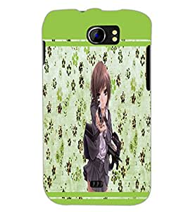 PrintDhaba Girl with Gun D-1343 Back Case Cover for MICROMAX A110 CANVAS 2 (Multi-Coloured)