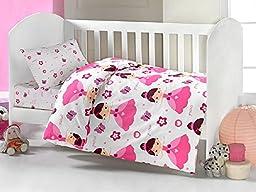 Brielle Toddler Duvet/Quilt Cover Set Bedding Set 100% Ranforce Cotton Turkish Cotton Comforter Cover Toddler Baby Bedding Sheet Set 3 Pieces 454 V1 (white pink princess)