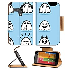 buy Luxlady Premium Motorola G 1St Generation Flip Case Collection Of Various Ghost Cartoon Icons Image 22970869 Pu Leather Card Holder Carrying