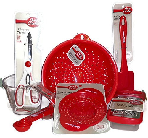 Betty Crocker Kitchen, Housewarming, Wedding, Shower Gift Set. 7 Piece Set of Red Essential Kitchen Tools