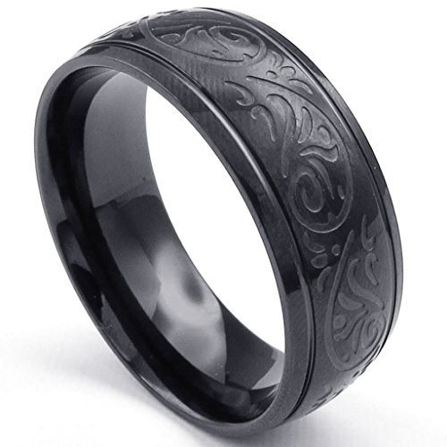 Beydodo Stainless Steel Ring (Punk Bands) Carved Florentine Design Charm Width 8mm Black Size 10 For Men (Good Snow Cone Machine compare prices)