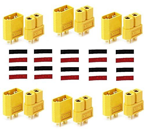 Finware 6 Pairs XT60 XT-60 Male Female Bullet Connectors Power Plugs with Heat Shrink for RC Lipo Battery (Deans Battery Harness compare prices)