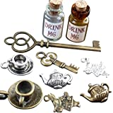 Alice in Wonderland 10 Pcs Steampunk Antique 1ml Drink Me Bottle Vial Jewelry Charm Findings Mix Lot 99
