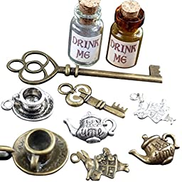 Alice in Wonderland 10 Pcs Steampunk Antique 1ml Drink Me Bottle Vial Jewelry Charm Findings Mix Lot 99