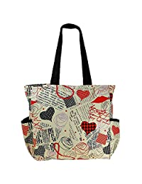 Printed Shopping Bag, 3 Pockets, Satin Lining, Zipper Closing - B015GWR3MO