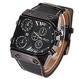 Oulm 腕時計 メンズ ウオッチ 男性用 腕時計    カジュアルデザイン 軍事 スポーツ腕時計 誕生日プレゼント ギフト 黒 Oulm  Men's Watch with 3-Movt Quartz Dial Watchband