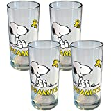 (Set/4) Peanuts Collectible Snoopy And Woodstock Best Friends 16 Oz. Glasses