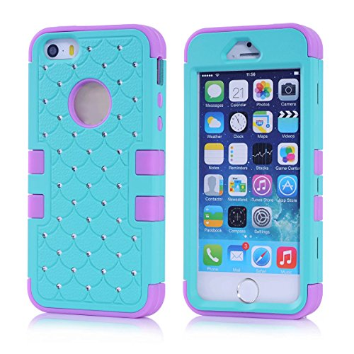 iPhone 5S Case, KAMII 3 Layers Verge Hybrid Soft Silicone Hard Plastic Triple Quakeproof Drop Resistance Protective Case Cover for Apple iPhone 5/5S/SE (Aqua Purple) (Marvel Silicone Iphone 5s Case compare prices)