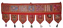 Ethnic Window Valance Home Decor Vintage Embroidered Patchwork Door Hanging Toran Lalhaveli