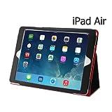 iPad Air / スマートレザーケース ( ブラックxレッド) & 液晶保護フィルム & イヤフォンジャックカバー / オートスリープ機能つき (iPad Air 2013, ブラックxレッド)