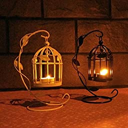 YONG Birdcage wrought iron candle holders and romantic lanterns home ornaments , black
