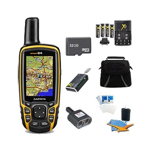 GPSMAP 64, Worldwide Handheld GPS 32GB Accessory Bundle. Bundle Includes GPSMAP 64st GPS, 32GB Micro SD Card, 57-in-1 USB Card Reader, AA Charger w/ 4 AA Batteries, Deluxe Gadget Bag, Cigarette Lighter Adapter, Cleaning Kit, and Screen Protectors.