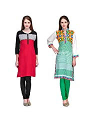Cenizas Women's Cotton Red Kurtas Pack Of 2 ( 2164RED & 2165GRN)