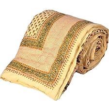 Little India Jaipuri bloque de cama estampado a mano Beige para cama individual