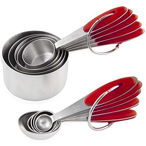 Chef U Measuring Cups and Spoons - Set of 10 Pieces - Premium Quality - Sturdy Build, Lightweight, Rust Proof - Engraved Measurements, Food Grade Silicone Grip - Can be Nested and Stacked (Red)