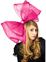 Very Large 25 Inch Fuchsia Pink Sinamay Bow Fascinator Ascot/Kentucky Derby Hat With Headband