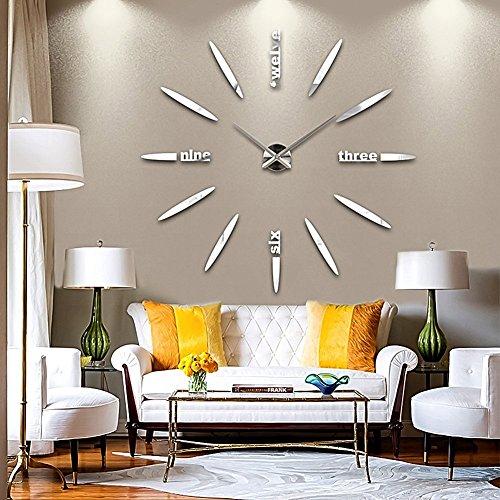 DIY-3D-Groe-Wanduhr-Modelle-Dekoration-Spiegel-Aufkleber-Wandsticker-Groe-Uhr-Geschenk-Empfehlen-Silber