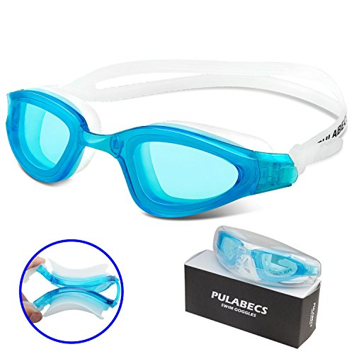 Pulabecs Swim Goggles With Anti-Fog UV Clear Lenses For Man And Women PGA0326 (light blue)