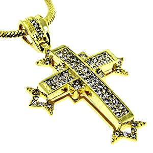 Mens 24k Gold Plated Cross Chain Necklace Bling by The Bling King
