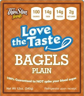 ThinSlim Foods 100 Calorie, 2g Net Carb, Love The Taste Low Carb Plain Bagels (Thin Slim Bread compare prices)