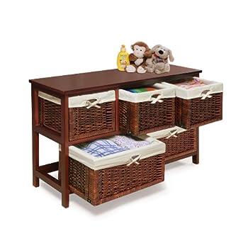 Badger Basket Five Basket Storage Unit with Wicker Baskets, Cherry