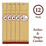 Panchratan Perfumed Charcoal Incense Sticks ( Pack Of 12, 23cms, Amber And Mogra Fragrance )