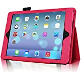 InventCase Apple iPad Air Tablet (1st Generation - 9.7-Inch) 2013 Smart Multi-Functional Leather 2-Fold Case Cover with Sleep Wake Function - Pink