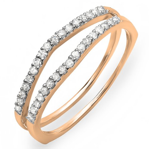 0.25 Carat (Ctw) 14K Rose Gold Round White Diamond Ladies Anniversary Enhancer Guard Matching Wedding Band 1/4 Ct (Size 6.5)