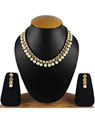 Aradhya Traditional Designer Square Kundan Necklace Set With Pearl Drops With Earrings For Women And Girls