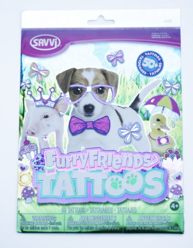Savvi Set of 50 Temporary Tattoos, Furry Friends - 1