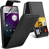 (Black) Samsung Galaxy Spica i5700 Protective Faux Leather Debit/Credit Card Slot Flip Case Cover Skin & Screen Protector Guard By *Aventus*