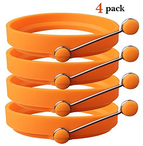 Ozera 4 Pack Nonstick Silicone Egg Ring Pancake Mold, Round Egg Rings Mold, Orange