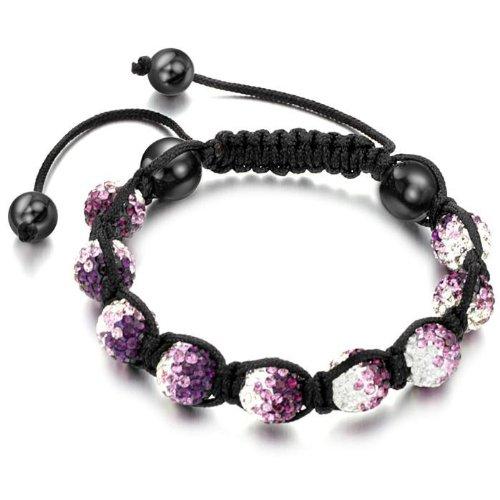 Swarovski Crystal Shamballa Bracelet for Women Men Unisex Multicolor Crystal Balls Purple to Clear Changing Color
