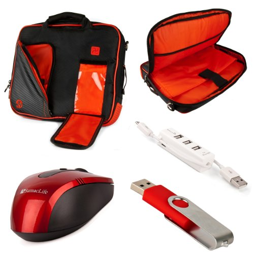 """Pindar Messenger Carrying Bag (Red) For Samsung Chromebook / Ativ Tab 11.6"""" Notebook + Red Sumaclife Usb Mouse + Red 4Gb Thumdrive + Kallin 3 Port Usb Hub"""