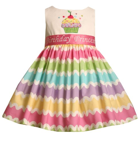 Size-18M BNJ-7556R 2-Piece MULTICOLOR RAINBOW STRIPE 'Birthday Princess' CUPCAKE Special Occasion Birthday Party Dress,R17556 Bonnie Jean BABY 12M-24M