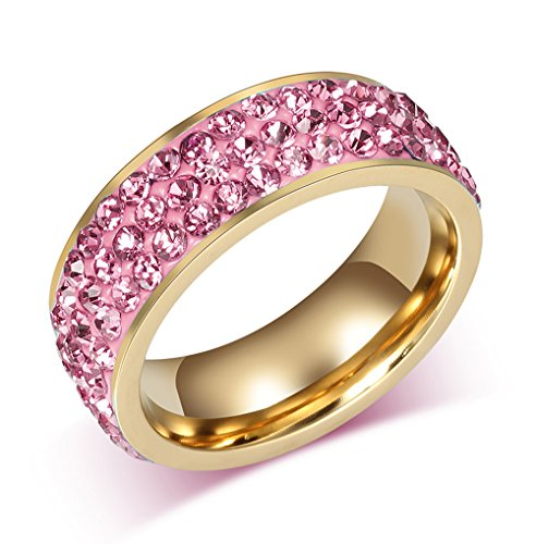 Vnox Jewelry Womens Stainless Steel Eternity Ring Crystal Circle Round,Pink,7mm Wide,Size 8
