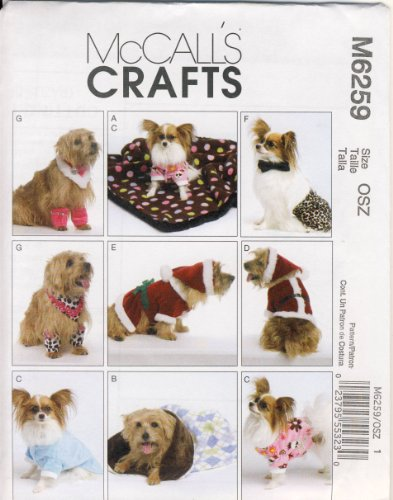 Mccall Sewing Pattern 6259 - Use To Make - Dog Clothes, Blanket, Sleeping Bag - Length Sizes 6 1/2 Inches To 16 Inches front-158926
