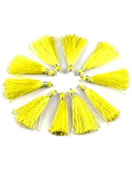 "Sumit 10 Pcs Beautiful Yellow Color Silk Tassel Beautiful Necklace Making Link 2"" Long Tassel,Beautiful Earring..."