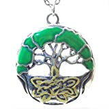 DaisyJewel Tree of Life Pendant Necklace: Springtime Emerald Enamel Leaves Branch Out & Around on Tibetan Silver with Yellow Individually Hand Painted Celtic Knot Roots on 18 to 20 Adjustable Link Chain With Lobster Clasp