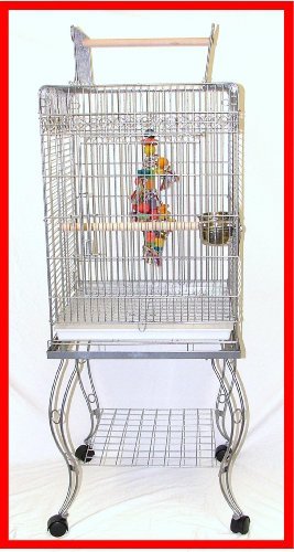 Cheap Pallas Silver Bird Parrot Cage Cages Stand Cockatiel (A11)