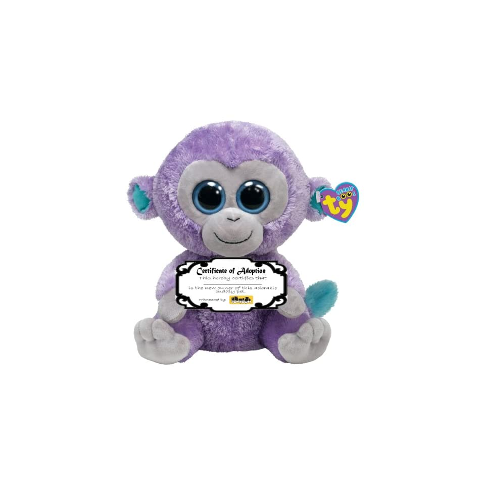 84705c68a6d Ty Beanie Boo Blueberry the Monkey with Adoption Certificate on ...
