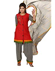 Ritu Creation Women's New Red Cotton Stitched Salwar Suit With Fancy Printed Dupatta And Salwar (RED)