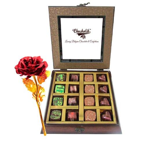 Dark Chocolates With 24k Red Gold Rose - Chocholik Belgium Chocolates